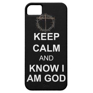 Guarde la calma y sépala que soy dios iPhone 5 Case-Mate coberturas