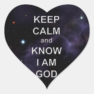 Guarde la calma y sépala que soy dios pegatina en forma de corazón