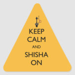 Guarde la calma y Shisha encendido Pegatina Triangular