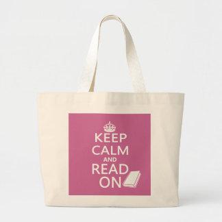Guarde la calma y siga leyendo bolsa tela grande