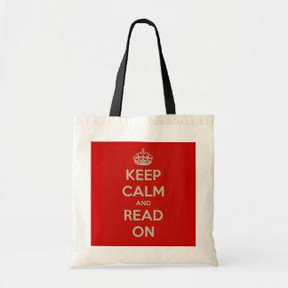 Guarde la calma y siga leyendo bolsa lienzo