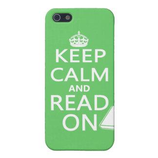 Guarde la calma y siga leyendo iPhone 5 fundas