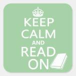 Guarde la calma y siga leyendo colcomanias cuadradases