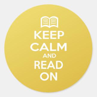 Guarde la calma y siga leyendo etiquetas redondas