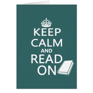 Guarde la calma y siga leyendo tarjeta de felicitación