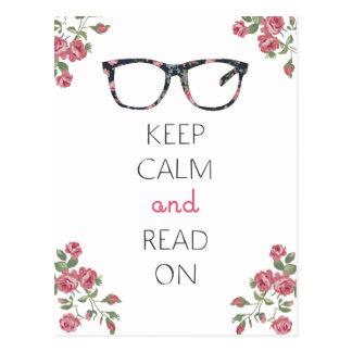 Guarde la calma y siga leyendo tarjeta postal