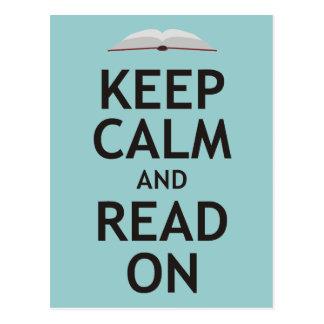 Guarde la calma y siga leyendo tarjetas postales