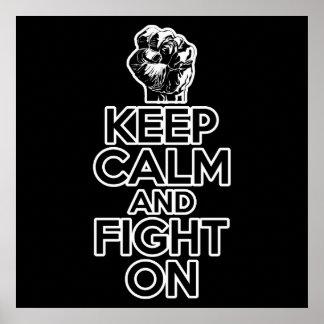 Guarde la calma y siga luchando póster