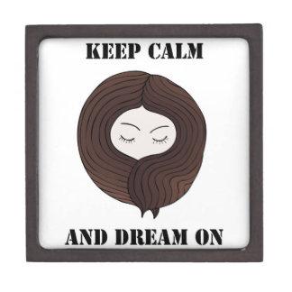 Guarde la calma y soñe encendido caja de recuerdo de calidad