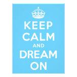 Guarde la calma y soñe encendido comunicados personalizados