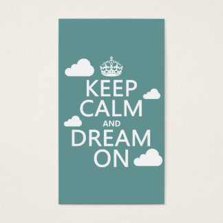Guarde la calma y soñe encendido (las nubes) - tarjetas de visita