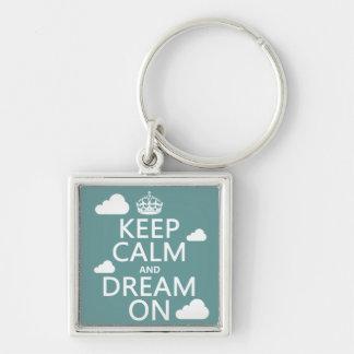 Guarde la calma y soñe encendido (las nubes) - tod llavero cuadrado plateado