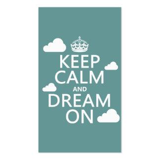 Guarde la calma y soñe encendido las nubes - tod tarjeta de visita