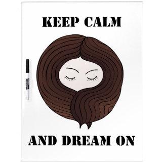 Guarde la calma y soñe encendido pizarras blancas de calidad