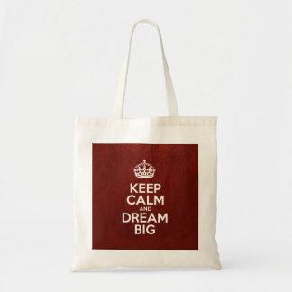 Guarde la calma y soñe grande - cuero rojo bolsa lienzo