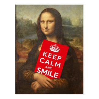 Guarde la calma y sonría tarjeta postal