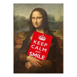 Guarde la calma y sonría tarjetas de visita grandes