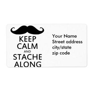 Guarde la calma y Stache adelante Etiquetas De Envío