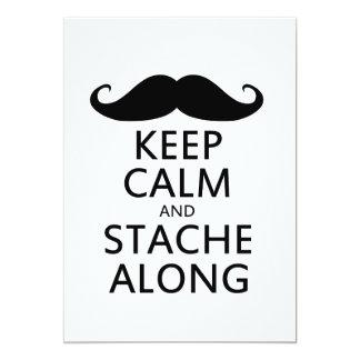 Guarde la calma y Stache adelante Invitación 12,7 X 17,8 Cm