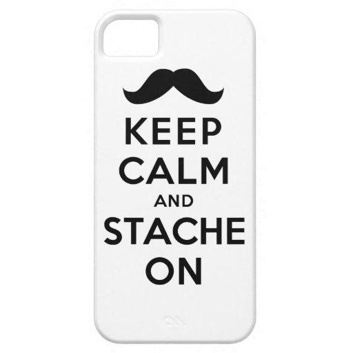 Guarde la calma y Stache encendido iPhone 5 Case-Mate Carcasas