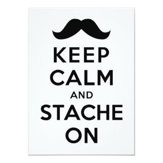 Guarde la calma y Stache encendido Invitación 11,4 X 15,8 Cm