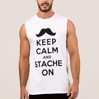 Guarde la calma y Stache encendido Camisetas Sin Mangas