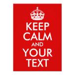 Guarde la calma y su texto anuncio