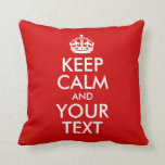 Guarde la calma y su texto cojines