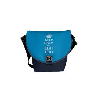 Guarde la calma y su texto en azul de cielo bolsa messenger