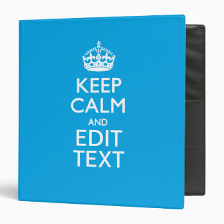 """Guarde la calma y su texto en fondo del azul de carpeta 1 1/2"""""""