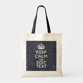 Guarde la calma y su texto en la impresión de bolsas de mano