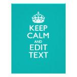 Guarde la calma y su texto en la turquesa del pavo membrete a diseño