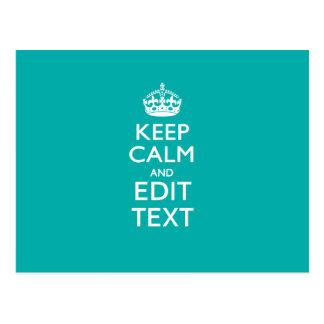 Guarde la calma y su texto en la turquesa del postal