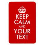 Guarde la calma y su texto imán rectangular