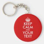 Guarde la calma y su texto llaveros