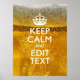 Guarde la calma y su texto para un poco de cerveza impresiones