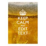 Guarde la calma y su texto para un poco de cerveza plantillas de tarjeta de negocio