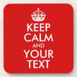 Guarde la calma y su texto posavasos de bebidas