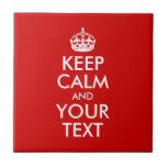 Guarde la calma y su texto teja cerámica