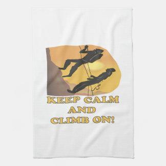 Guarde la calma y suba encendido toallas de mano