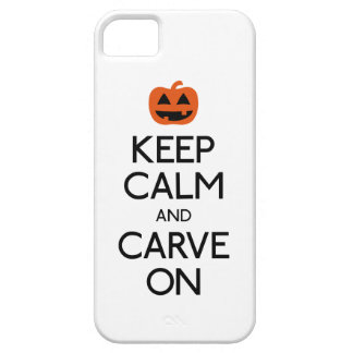 Guarde la calma y talle en la calabaza iPhone 5 Case-Mate cobertura