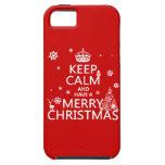 Guarde la calma y tenga Felices Navidad (color del iPhone 5 Case-Mate Cárcasas