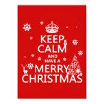 Guarde la calma y tenga Felices Navidad (color del Invitación 13,9 X 19,0 Cm