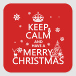 Guarde la calma y tenga Felices Navidad (color del Pegatina Cuadrada