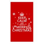 Guarde la calma y tenga Felices Navidad (color del Plantilla De Tarjeta De Visita