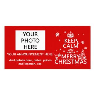 Guarde la calma y tenga Felices Navidad (color del Tarjeta Fotográfica Personalizada