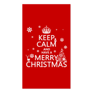 Guarde la calma y tenga Felices Navidad (color del Tarjetas De Visita