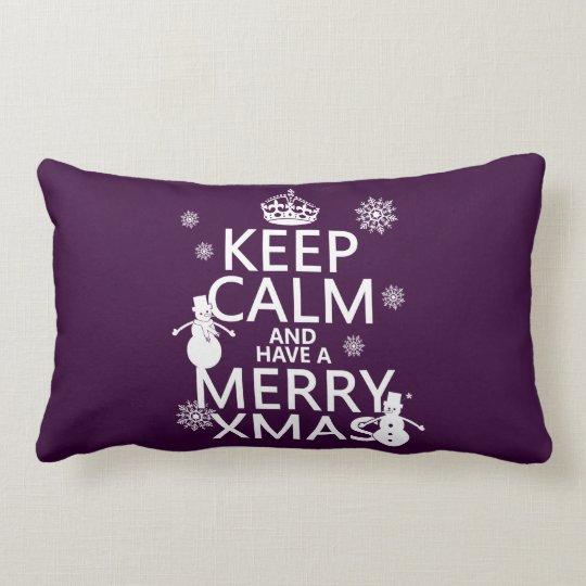 Guarde la calma y tenga feliz Navidad (el navidad) Cojín Lumbar