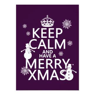 """Guarde la calma y tenga feliz Navidad (el navidad) Invitación 5.5"""" X 7.5"""""""