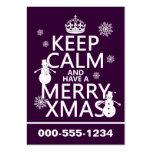 Guarde la calma y tenga feliz Navidad (el navidad) Tarjetas De Visita